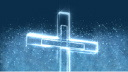 Royalty Free Video of a Turning Illuminated Cross With Twinkling Lights in the Background