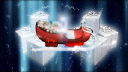 Royalty Free HD Video Clip of a Red Sleigh With White Presents