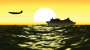 Royalty Free HD Video Clip of a Plane Flying Over a Boat Sailing in Front of a Sunset