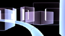 Royalty Free Video of a Path Going Through Opaque Cubes and Rectangles