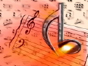 Royalty Free Video of a Music Note on Musical Background