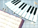 Royalty Free Video of Piano Keys and Floating Notes