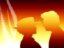 Royalty Free Video of a Victorian Couple in Silhouette
