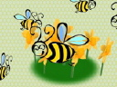 Royalty Free Video of Revolving Bees and Flowers