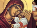 Royalty Free Video of a Revolving Image of Mary and Jesus