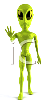 Royalty Free 3d Clipart Image of the Front View of an Alien Waving