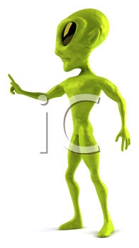 Royalty Free Clipart Image of a 3D Alien Turned to the Side