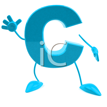 Royalty Free 3d Clipart Image of the Letter C Waving