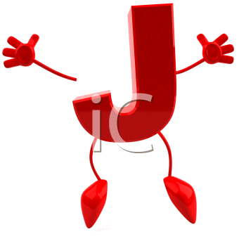 Royalty Free 3d Clipart Image of the Letter J Jumping