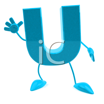 Royalty Free 3d Clipart Image of the Letter U Waving
