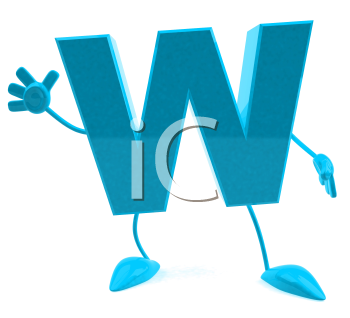 Royalty Free 3d Clipart Image of the Letter W Waving