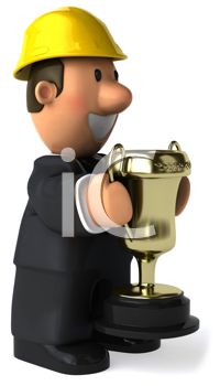 Royalty Free Clipart Image of a Guy in a Hard Hat Holding a Trophy