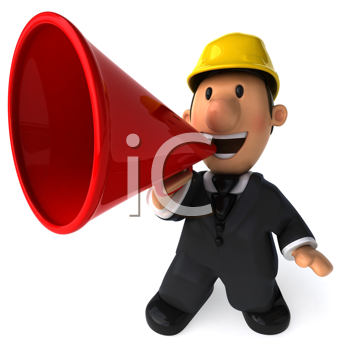 Royalty Free Clipart Image of a Man in a Hard Hat Using a Megaphone