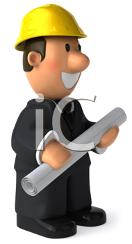 Royalty Free Clipart Image of a Man in a Hard Hat Holding a Roll of Paper and Facing to the Right