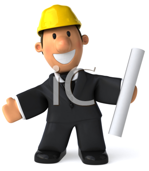 Royalty Free Clipart Image of a Happy Man With a Rolled Paper and Wearing a Hard Hat