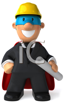Royalty Free Clipart Image of a Superhero in a Business Suit Wearing a Hard Hat