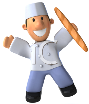 Royalty Free Clipart Image of a French Baker With Bread