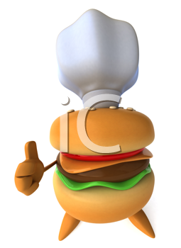 Royalty Free Clipart Image of a Hamburger in a Chef's Hat
