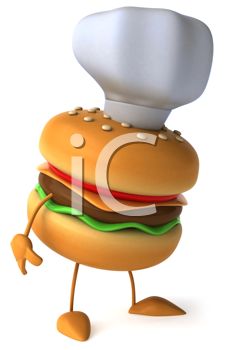 Royalty Free Clipart Image of a Cheeseburger in a Chef's Hat