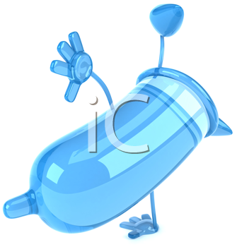 Royalty Free Clipart Image of a Blue Condom Doing a Hand Spring