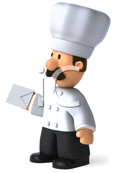 Royalty Free Clipart Image of a Chef With a Letter