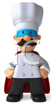 Royalty Free Clipart Image of a Superhero Baker