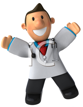 Royalty Free Clipart Image of a Happy Doctor