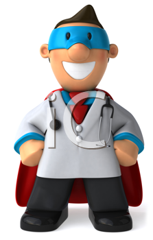 Royalty Free Clipart Image of a Superhero Physician