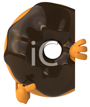 Royalty Free Clipart Image of a Chocolate Covered Doughnut