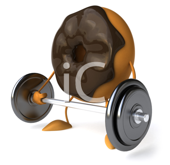 Royalty Free Clipart Image of a Doughnut Lifting a Barbell