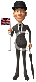 Royalty Free Clipart Image of a Dapper Englishman Holding a Union Jack