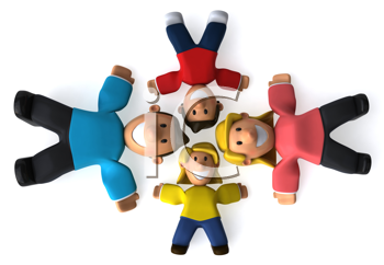 Royalty Free Clipart Image of a Family in a Circle