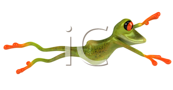 Royalty Free Clipart Image of a Leaping Frog
