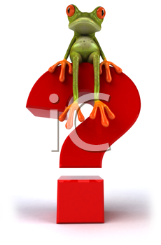 Royalty Free Clipart Image of a Frog on a Question Mark