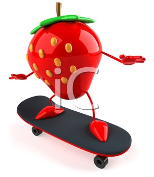Royalty Free Clipart Image of a Stawberry on a Skateboard