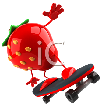 Royalty Free Clipart Image of a Strawberry on a Skateboard