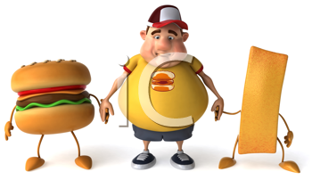 Royalty Free Clipart Image of a Chubby Man Standing Holding Hands With a Burger and a French Fry