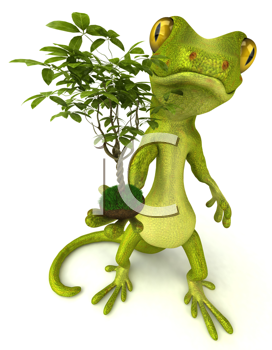 Royalty Free Clipart Image of a Gecko With a Plant
