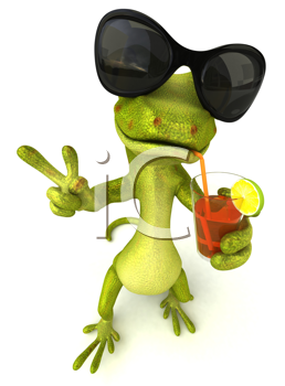 Royalty Free Clipart Image of a Frog Wearing Sunglasses and Holding a Drink