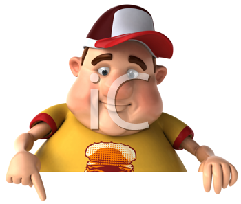 Royalty Free Clipart Image of a Fat Man Pointing Down