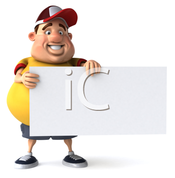 Royalty Free Clipart Image of an Overweight Man Holding a Blank Sign