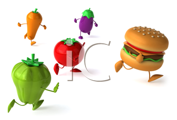 Royalty Free Clipart Image of Vegetables Chasing a Burger
