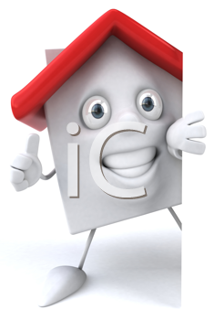Royalty Free Clipart Image of a House Giving a Thumbs Up