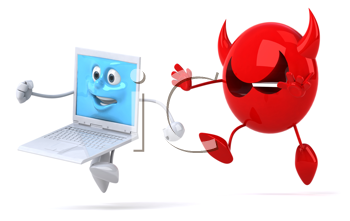 Royalty Free Clipart Image of a Virus Chasing a Computer