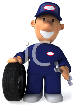 Royalty Free Clipart Image of a Mechanic With a Tire and Wrench
