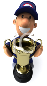 Royalty Free Clipart Image of a Mechanic With a Trophy