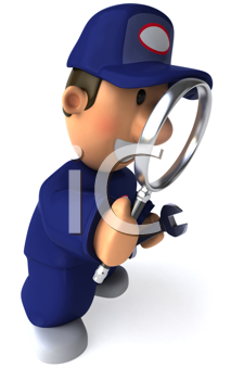 Royalty Free Clipart Image of a Mechanic With a Magnifying Glass