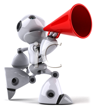 Royalty Free Clipart Image of a Robot With a Bullhorn