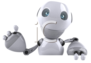 Royalty Free Clipart Image of a Waving Robot
