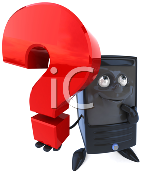 Royalty Free Clipart Image of a Computer Tower With a Question Mark